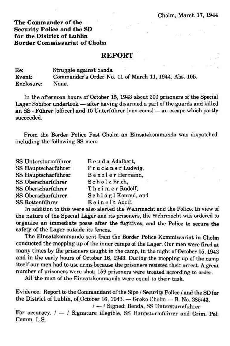 Sobibor Death Camp HolocaustResearchProjectorg – Sample Homicide Police Report