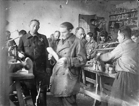 Jews at work in a shoe factory in the Szarkowszczyzna ghetto