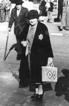 Jewish woman in Berlin wearing the compulsory star of David patch