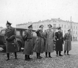 Nazi leaders view the town of Tomaszow Mazowiecki