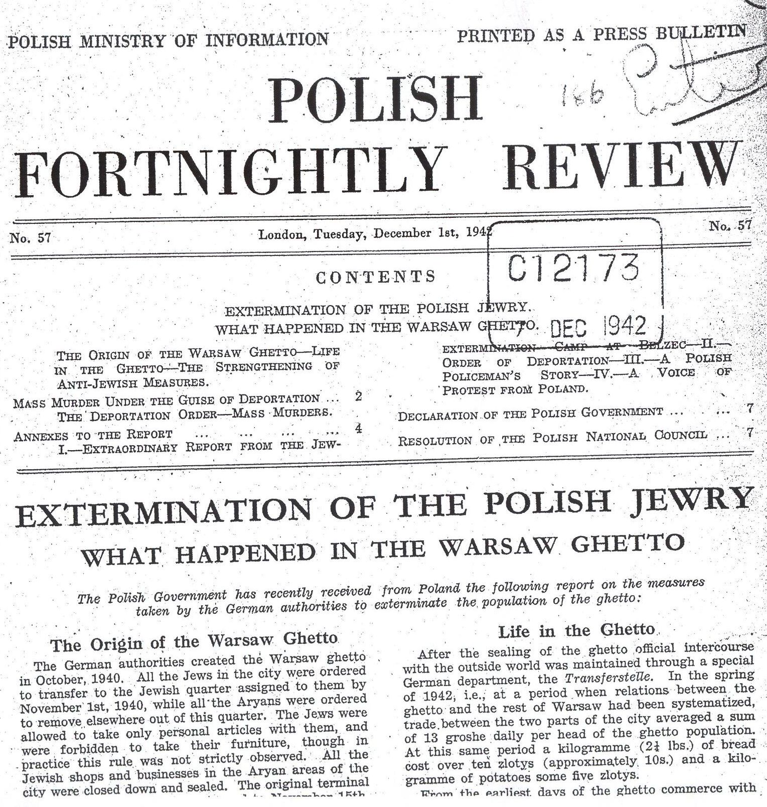 1942 german newspaper extermination camps On this day in 1942, a warsaw underground newspaper, the liberty brigade, makes public the news of the gassing of tens of thousands of jews at chelmno, a nazi-operated death camp in.