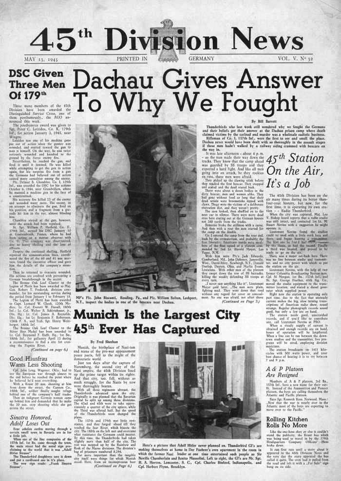 Image result for liberation of dachau concentration camp in 1945 newspaper articles