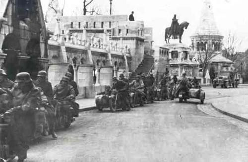 German troops march through Budapest
